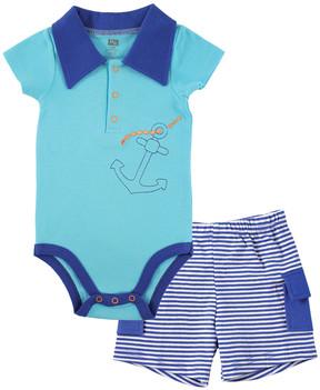 Hudson Baby Aqua & Blue Anchor Bodysuit & Stripe Cargo Shorts - Newborn