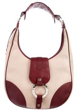 Bvlgari Leather-Trimmed Canvas Shoulder Bag