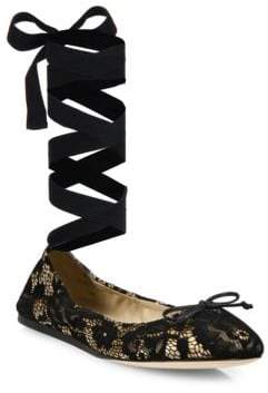 Saks Fifth Avenue Collection Lace Ankle-Wrap Ballet Flats