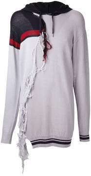 Miharayasuhiro tassel trim longline hoodie