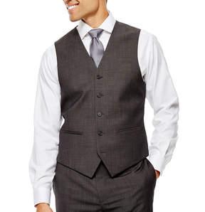 Claiborne Charcoal Herringbone Suit Vest - Classic Fit