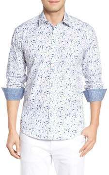 Bugatchi Men's Shaped Fit Bird Print Sport Shirt