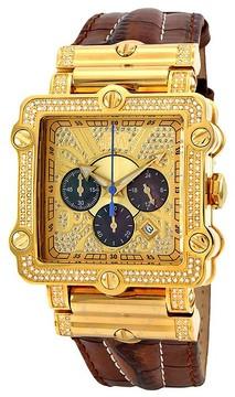 JBW Phantom Gold-tone Chronograph Crystal Dial Gold-tone Diamond Men's Watch