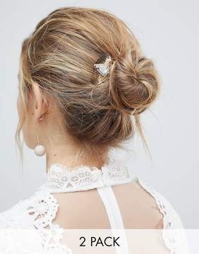 Asos DESIGN Bridal Pack Of 2 White Filigree Disc And Stone Hair Clips