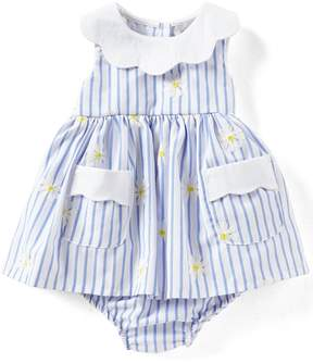 Rare Editions Baby Girls Newborn-24 Months Daisy-Embroidered Striped Fit-And-Flare Dress