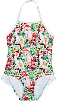 Snapper Rock FOREST- & COCKATOO-PRINT HALTER ONE-PIECE SWIMSUIT
