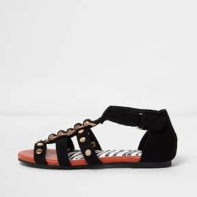 River Island Girls black studded flat sandals