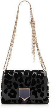Jimmy Choo LOCKETT PETITE Black Spazzolato with Embroidered Velvet Leopard Print Shoulder Bag