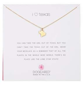 Dogeared 14K Yellow Gold Plated Sterling Silver 'I Heart Texas' Pendant Necklace