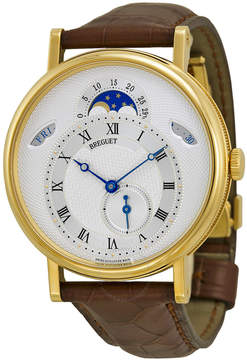 Breguet Classique Automatic Moonphase Silver Dial 18 kt Yellow Gold Men's Watch