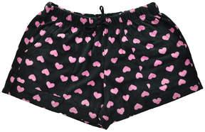Angelina Black & Pink Heart Side-Pocket Fleece Boxers - Women & Plus