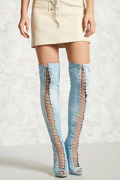 Forever 21 Denim Over-the-Knee Boots