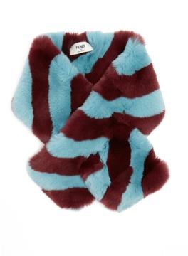 FENDI Striped fur collar