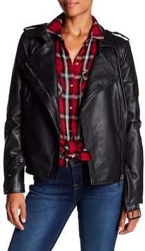 Bagatelle Belted Faux Leather Biker Jacket