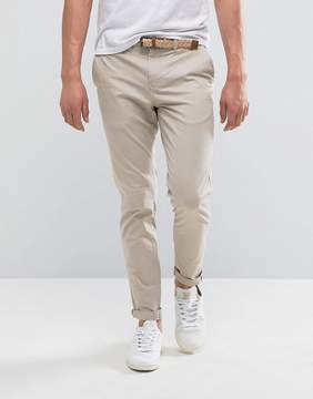 Pull&Bear Slim Chinos With Belt In Stone