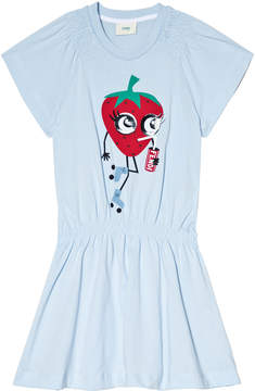 Fendi Blue Strawberry Jersey Dress