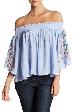 Angie Off-the-Shoulder Floral Embroidered Blouse