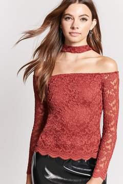 Forever 21 Crocheted Lace Choker Top