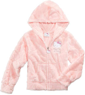 Hello Kitty Fuzzy Plush Full-Zip Hoodie, Little Girls (4-6X)