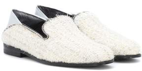 Alexander McQueen Leather-trimmed tweed loafers