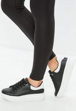 Missguided Black Flatform Lace Up Sneakers