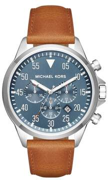 Men's Michael Kors 'Gage' Chronograph Leather Strap Watch, 45Mm