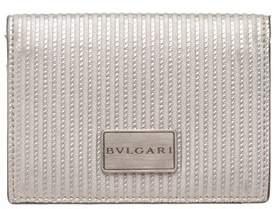 Bvlgari Silver Metallic Leather Cardholder Wallet.