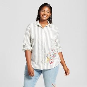 Ava & Viv Women's Plus Size Embroidered Button Down Striped Shirt Gray