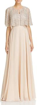Aidan Mattox Tiered Beaded-Bodice Gown