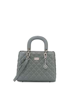 St. John Collection Quilted Leather Satchel Bag, Gray