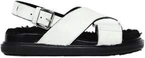 Marni 30mm Pony & Shearling Sandals