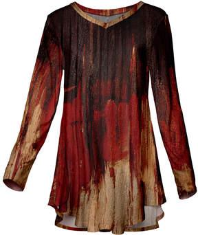 Azalea Red & Beige Abstract Long-Sleeve Tunic - Women & Plus