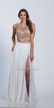 Dave and Johnny Bateau Neck Scoop Back Two Piece Evening Dress