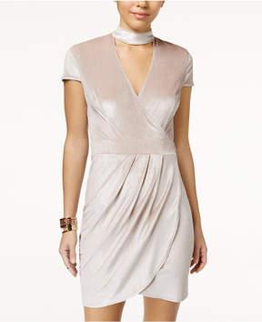 B. Darlin Juniors' Velvet Faux-Wrap Choker Dress