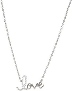 Crislu CZ Pave Love Script Pendant Necklace