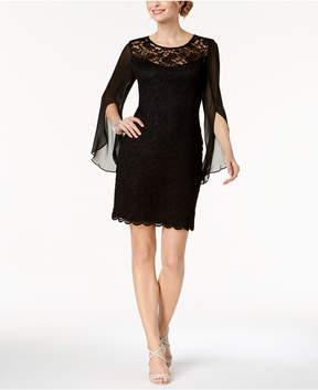 Connected Lace & Chiffon Sheath Dress