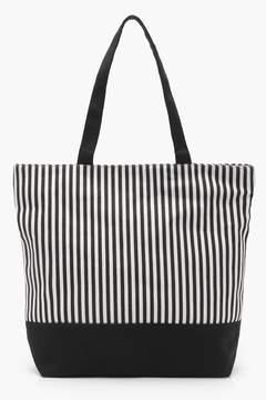 boohoo Mono Stripe Beach Bag