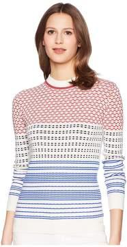 Jil Sander Navy Long Sleeve Pattern Mix Knit Women's Dress