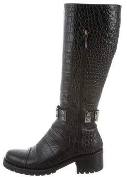 Cesare Paciotti Embossed Knee-High Boots