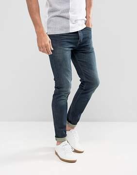 Benetton Skinny Jean In Dark Wash Blue With Stretch
