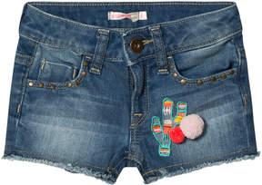 Billieblush Blue Mid Wash Cactus Embroidered Pom-Pom Shorts