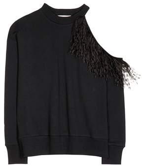 Christopher Kane Ostrich feather cotton sweatshirt