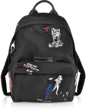 McQ Black Embroidered Nylon Backpack