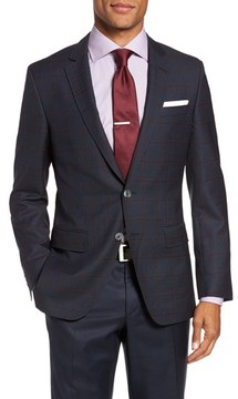 BOSS Men's Hutsons Trim Fit Windowpane Wool Sport Coat