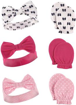 Hudson Baby Pink Bow Headband & Scratch Mitten Set