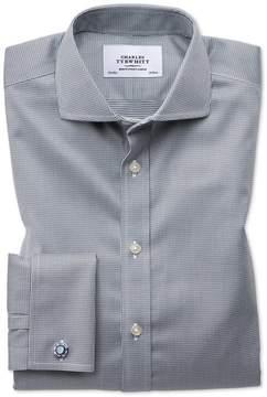Charles Tyrwhitt Slim Fit Spread Collar Non-Iron Puppytooth Dark Grey Cotton Dress Shirt French Cuff Size 14.5/33
