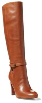 Ralph Lauren Valli Burnished Calfskin Boot Polo Tan 10