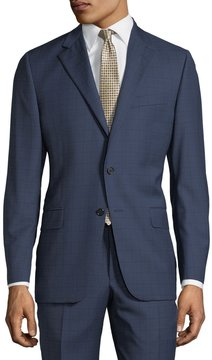 Hickey Freeman Two-Piece Wool Suit, Bright Navy Plaid