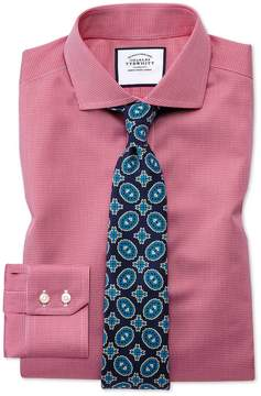 Charles Tyrwhitt Slim Fit Spread Collar Non-Iron Puppytooth Bright Pink Cotton Dress Shirt Single Cuff Size 14.5/33
