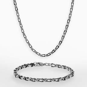 Lynx Black Ion-Plated Stainless Steel & Stainless Steel Bike Chain Necklace & Bracelet Set - Men